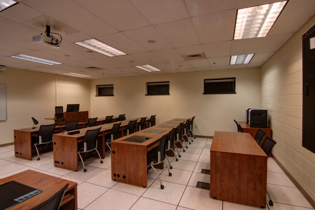 Desctech Furniture designed and installed by Cochise Tech in Fort Huachuca classroom