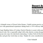 Desert Solar Homes letter of referal for Cochise Tech and Electric